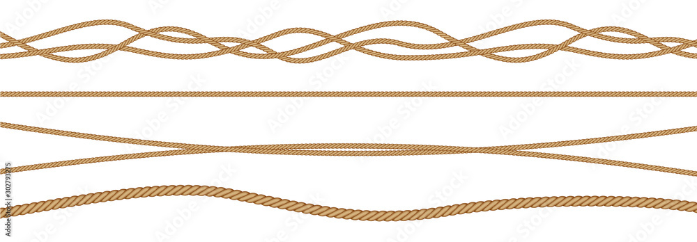 Fototapeta Twisted and straight rope set. Vector design elements.