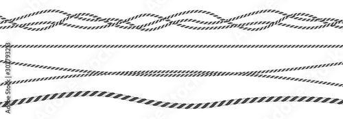 Black and white twisted and straight rope set Canvas Print