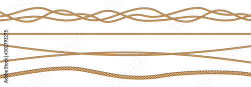 Photographie Twisted and straight rope set. Vector design elements.