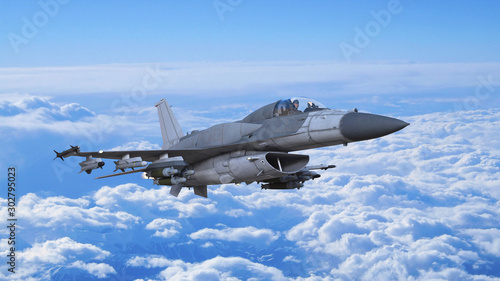 Fighter jet plane in flight, military aircraft, army airplane flying in cloudy s Canvas Print