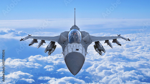 Fighter jet plane in flight, military aircraft, army airplane flying in sky with Canvas Print