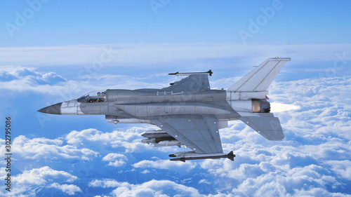 Fighter jet plane in flight, military aircraft, army airplane flying in sky with Wallpaper Mural