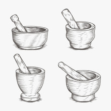 Mortar And Pestle Medical Pharmacy Hand Drawing Engraved