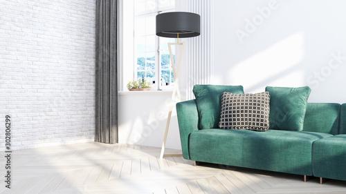 Photographie Living room interior in scandinavian style . 3D rendering