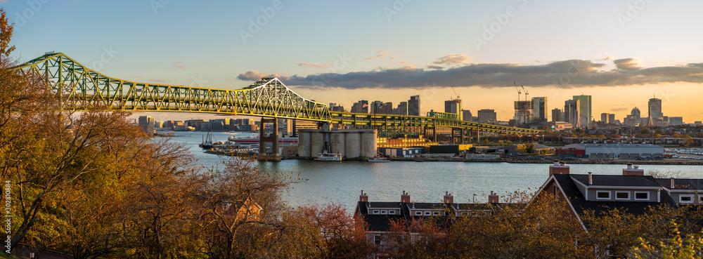 Fototapety, obrazy: Boston Skyline over Maurice J. Tobin Memorial Bridge over the Mystic River, Boston Massachusetts