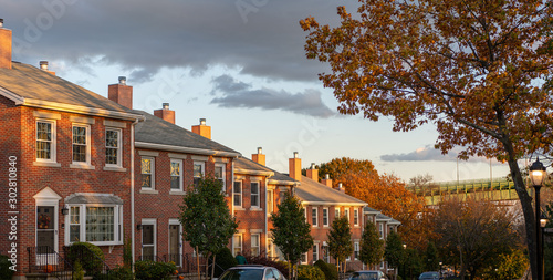 old brick townhouses roofs at sunset, boston massachusetts