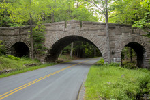 Elegant Historic Carriage Road Bridge With Three Arches In Acadia National Park, Maine, USA