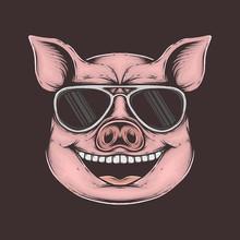 Hand Drawing Vintage Funky Pig...