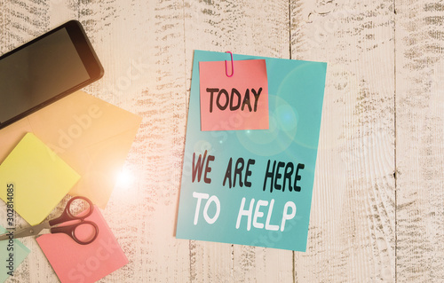Writing note showing We Are Here To Help Canvas Print