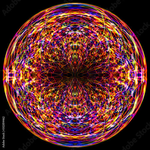Valokuva Digital Art: holiday lights manipulated into an orb