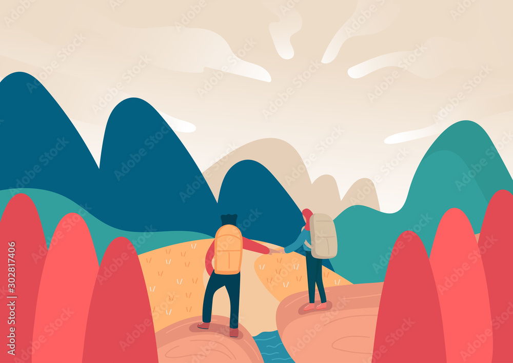 Fototapeta young backpacker couple on travel trip looking to mountain, journey male and female or man and woman standing on landscape background. cartoon flat vector illustration style.