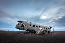 Abandoned Plane Wreck On The Black Sand Beach Sólheimasandur In The South Iceland