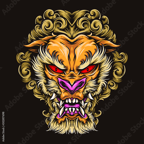 japanese lion tattoo vector logo Fototapet