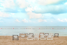 White Beach Chair  With Blue Sky And Sea View