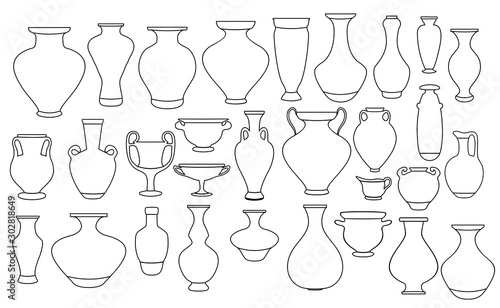 Outline vases and amphora collection Canvas Print