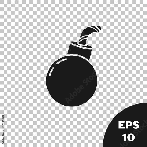 Black Bomb ready to explode icon isolated on transparent background Canvas-taulu
