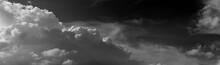 Panorama White Cloud And Black Sky Textured Background