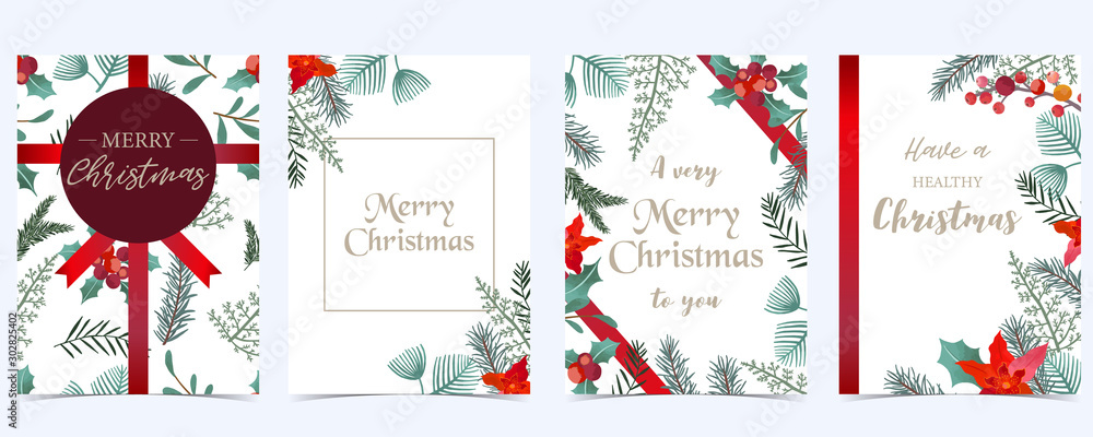 Fototapeta Collection of Christmas background set with holly leaves,flower,ribbon.Editable vector illustration for New year invitation,postcard and website banner