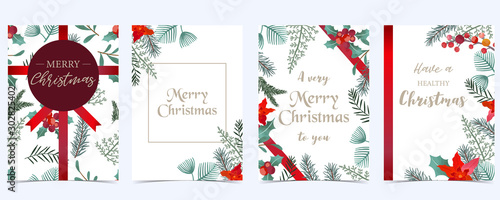 Collection of Christmas background set with holly leaves,flower,ribbon Canvas