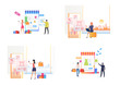 Set of customers buying clothes online. Flat vector illustrations of man and woman shopping on internet. Online shopping concept for banner, website design or landing web page
