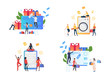 Set of people buying online. Flat vector illustrations of man and woman shopping on internet. Online shopping concept for banner, website design or landing web page