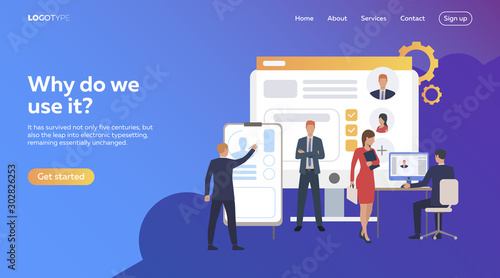 Obraz Business people picking up staff of potential workers. Development, optimization, teamwork. Flat illustration. Recruitment concept for banner, website design or landing web page - fototapety do salonu