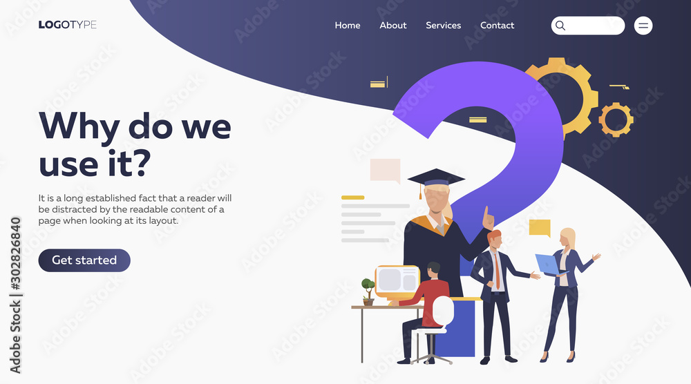 Fototapety, obrazy: People studying via internet. Faq, online education, inquiry flat vector illustration. Search engine concept for banner, website design or landing web page