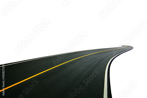 Pinturas sobre lienzo  winding Road transport going to the distance with yellow line drawing separated two way of forward and backward, isolated on white background