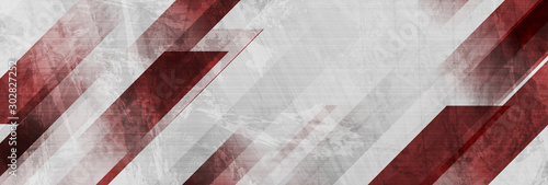 Obraz Dark red and grey grunge stripes abstract banner design. Geometric tech vector background - fototapety do salonu