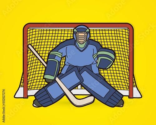 Fotografía Ice Hockey Goalie, sport player cartoon action graphic vector.