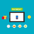 mobile payment, Online Shop Marketplace with smartphone.On line store. Sale, Laptop and smart phone elements and objects in modern stylish color. Isolated on colored background