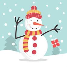 Snowman On The Snowfall Backgr...