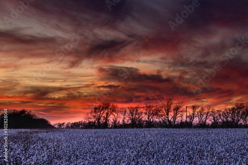 Recess Fitting Deep brown sunset over field