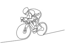 Cyclist Continuous Line Drawin...