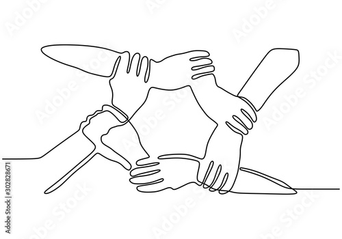 Obraz Continuous one line drawing of join hands puzzle business metaphor of teamwork. Vector illustration unity, strength, and togetherness. - fototapety do salonu
