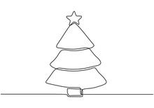 Christmas Tree With Star One Continuous Line Drawing Vector Illustration.
