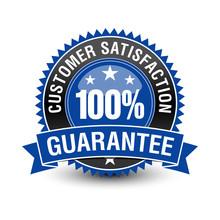 100 Customer Satisfaction Guarantee Badge With Blue Ribbon On Top