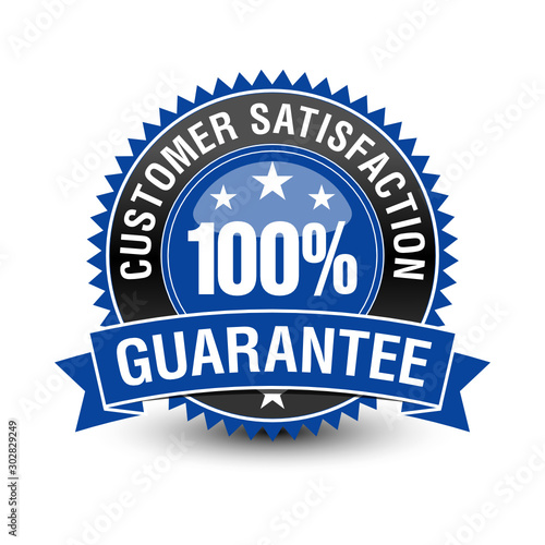 Leinwand Poster 100 customer satisfaction guarantee badge with blue ribbon on top