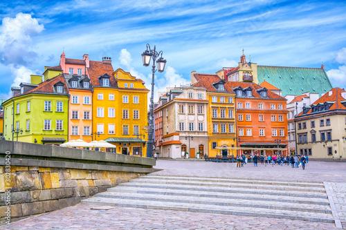 Obraz Kolorowe kamiennice na Starym Rynku w Warszawie - fototapety do salonu