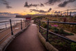 Saltburn by-the-sea garden and path to cliff top lift