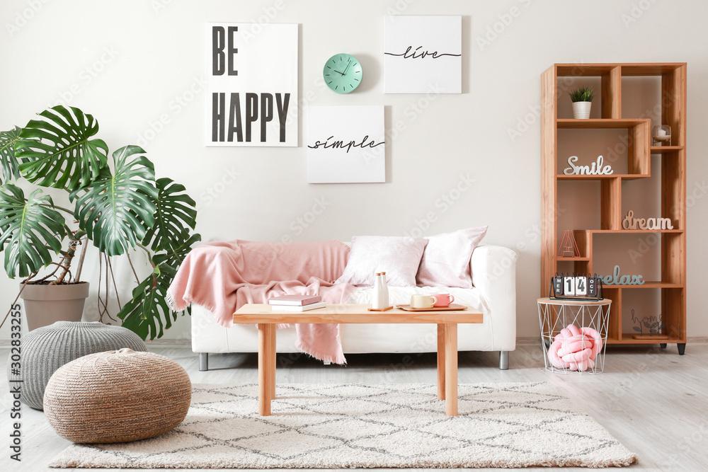 Fototapety, obrazy: Interior of stylish modern room with sofa
