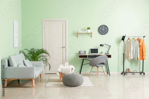 Fototapety, obrazy: Interior of stylish modern room with workplace