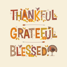 Decorative Lettering Thankful,...