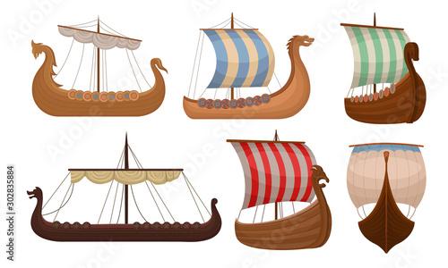 Fotomural  Set of vintage viking ships