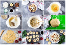 Step By Step Recipe Collage. Holiday Sweet Food. Process Making Of Cookies. Christmas Linzer Cookies With Red Berry Jam On Gray Concrete Table Background. Top View, Flat Lay