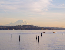 Mount Rainier Overlooking Lake Washinton And Rowers In Foreground On Right During Sunset