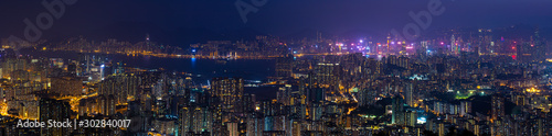 Fototapeta panorama view of Night of Kowloon, residential and downtown area, Hong Kong obraz