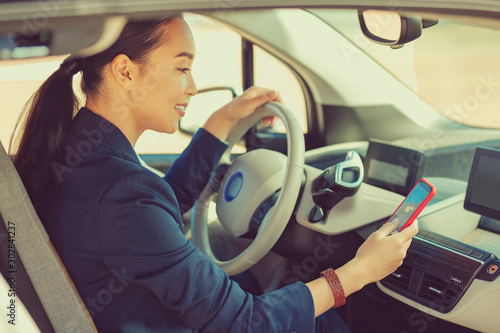 Cuadros en Lienzo  Amazing young brunette female sitting in her auto