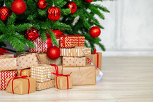 Stack Of Wrapped Presents Unde...