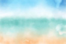 Blue Sky And Sand Beach Watercolor Background Eps10 Vectors Illustration
